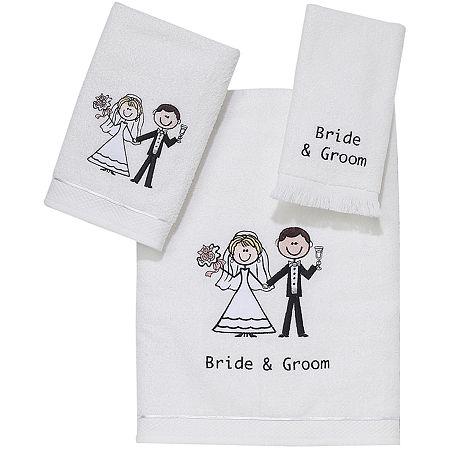 Avanti Bride and Groom Bath Towels, One Size , White