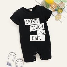Baby Girl Slogan Graphic Tee Romper