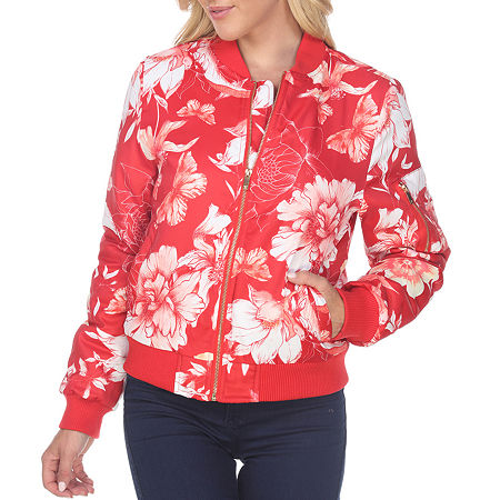 White Mark Knit Midweight Bomber Jacket, Small , Red