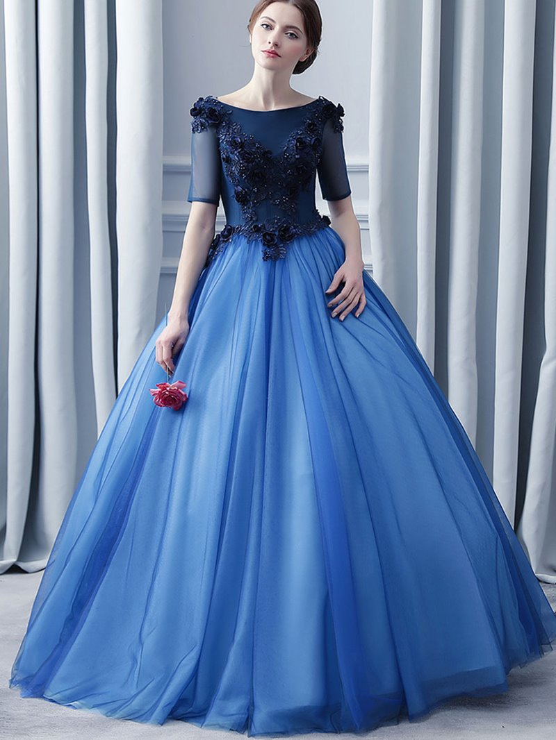 Ericdress Bateau Appliques Pearl Backless Quinceanrea Dress