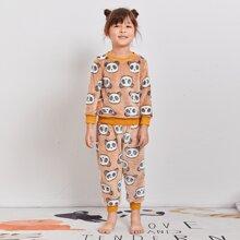 Flanell Schlafanzug Set mit Panda Muster