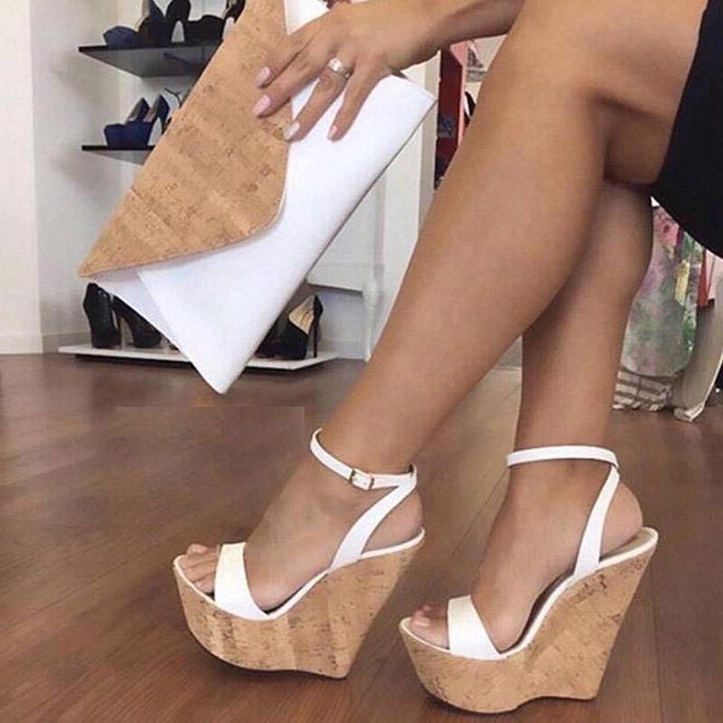Ericdress Plain Line-Style Buckle Wedge Sandals