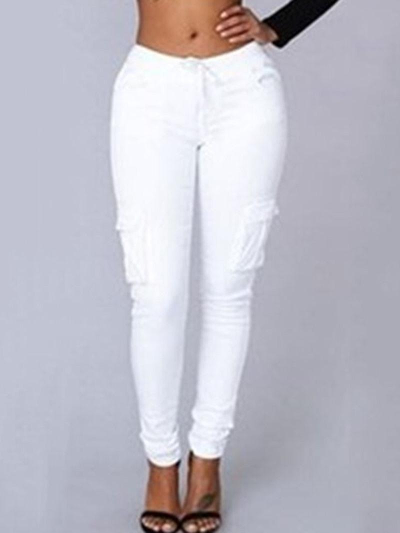 Ericdress Plain Pocket Skinny Pencil Pants Full Length Casual Pants