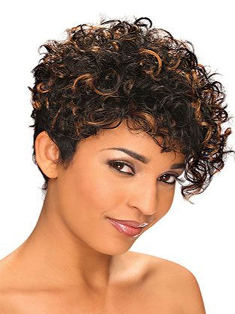 Ericdress Women's Short Pixie Cut Curly HairStyle Wigs Synthetic Hair Lace Front Cap Wigs 12inch