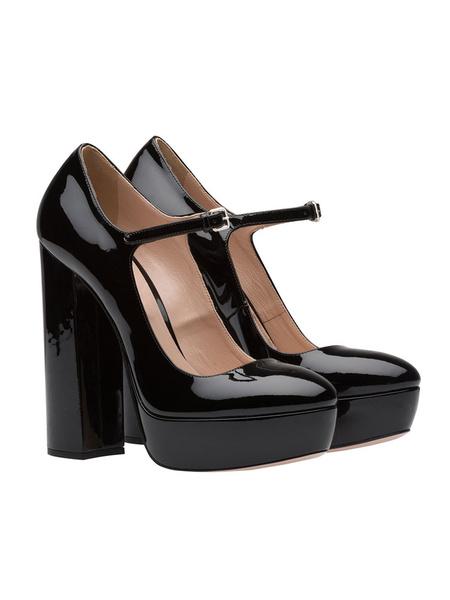 Milanoo Women Platform Block Heel Shoes High Heel Pumps Vintage Mary Jane Sexy Party Shoes