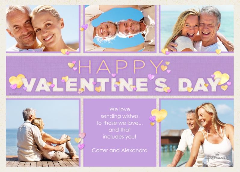 Valentine's Cards Mail-for-Me Premium 5x7 Flat Card, Card & Stationery -Shiny Heart Collage