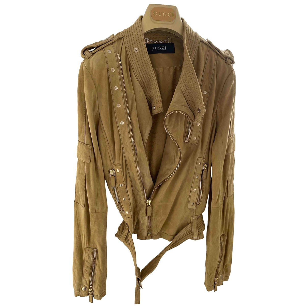 Gucci N Beige Suede Leather jacket for Women 42 IT