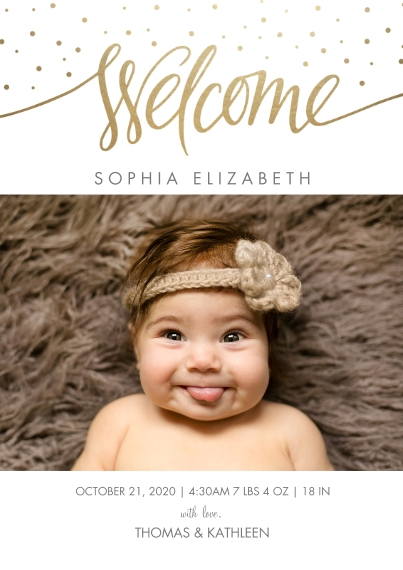 Baby Announcements 5x7 Cards, Premium Cardstock 120lb with Rounded Corners, Card & Stationery -Script Welcome Gold