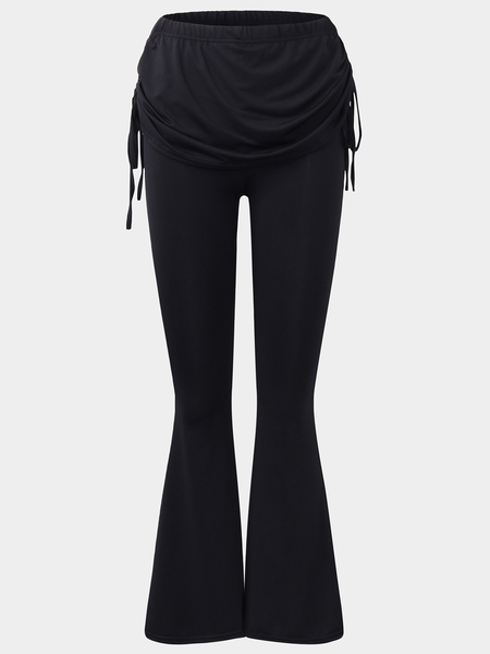 Yoins Active Wide Leg Stitching Design High Waisted Pants in Black