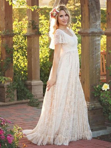 Milanoo Lace Long Dress White Women Short Sleeve Ruffle Boho Maxi Dress