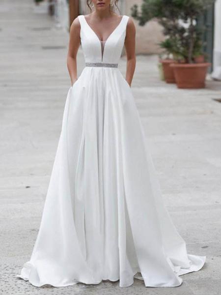 Milanoo Simple Wedding Dress A Line V Neck Sleeveless Sash Floor Length Bridal Dresses With Train