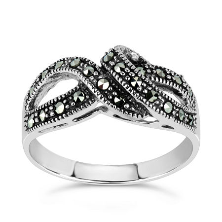 Sterling Silver Cocktail Ring featuring Swarovski Genuine Marcasite, 8 , No Color Family