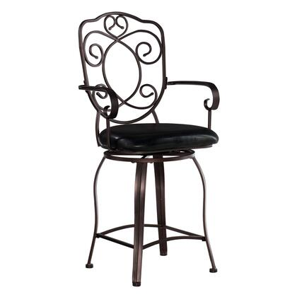 02786MTL-01-KD-U Crested Collection Counter Height Stool with Swivel Seat  Iron Metal Frame and Vinyl Upholstery in Dark Brown