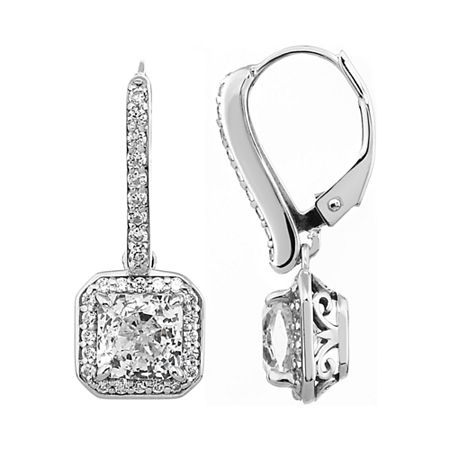 100 Facets by DiamonArt Square Halo Cubic Zirconia Drop Earrings, One Size , No Color Family