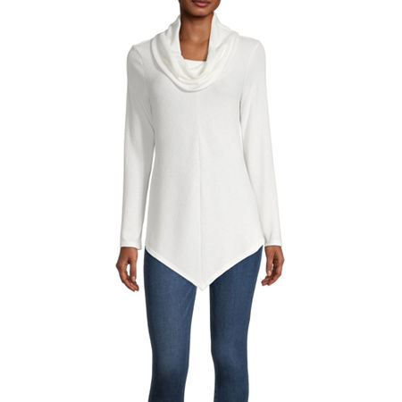 by&by-Juniors Womens Cowl Neck Long Sleeve Pullover Sweater, Large , White