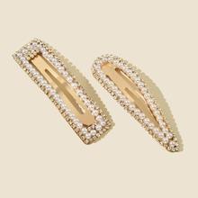 2 piezas horquilla con perla artificial