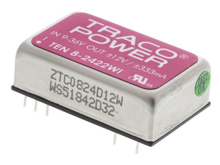 TRACOPOWER TEN 8WI 8W Isolated DC-DC Converter Through Hole, Voltage in 9 → 36 V dc, Voltage out ±12V dc Railway