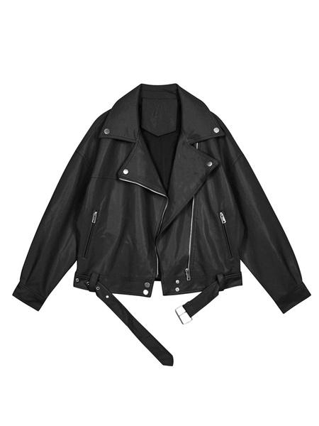 Milanoo Chaqueta de moto para mujer Chaqueta corta de cuello negro Chaquetas cortas de cuero de PU