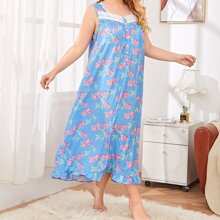 Plus Contrast Lace Panel Allover Floral Night Dress