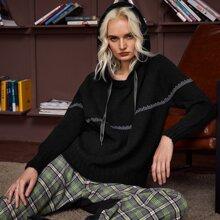 Drop Shoulder Raglan Sleeve Drawstring Hooded Sweater