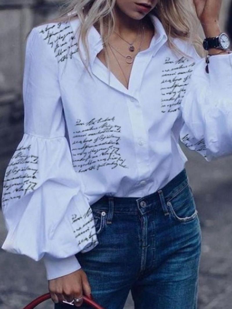 Ericdress Lantern Sleeve Lapel Letter Long Sleeve Short Blouse