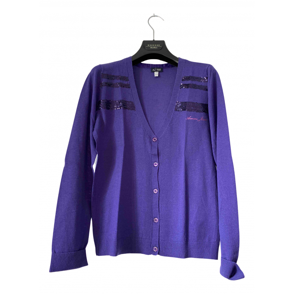 Armani Jeans N Purple Wool Knitwear for Women 42 IT