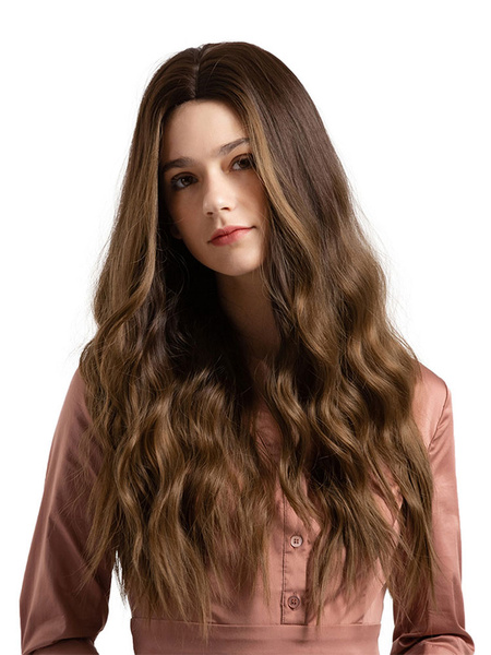 Milanoo Women Hair Wigs Deep Brown Centre Parting Waterfall Long Synthetic Wigs