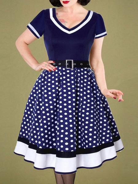 Milanoo Disfraz de 1950 Pin Up Girl Vestido vintage a lunares