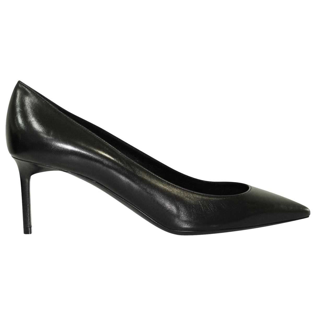 Saint Laurent Anja Black Leather Heels for Women 39 EU