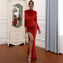 Mock Neck Split Thigh Glitter Prom Dress