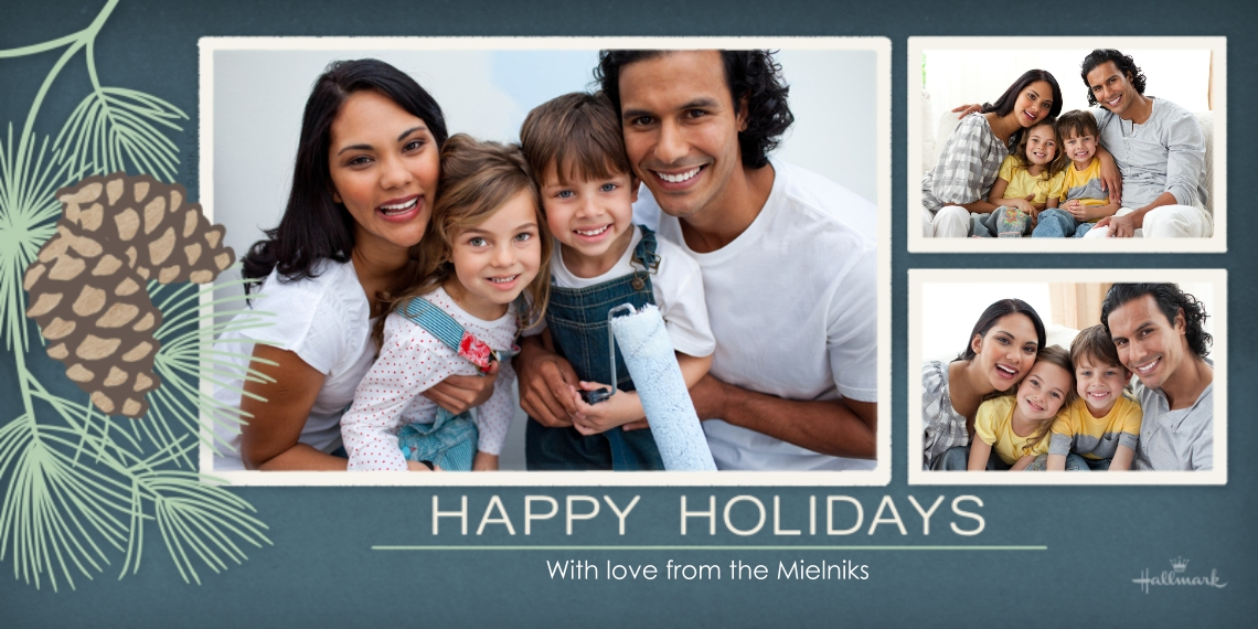 Holiday Photo Cards Flat Matte Photo Paper Cards with Envelopes, 4x8, Card & Stationery -Happy Holidays Pinecones