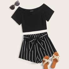 Raglan Sleeve Crop Top & Belted Striped Shorts Set