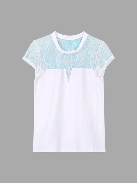 Yoins Hollow Out Lace Insert Crew Neck T-shirt
