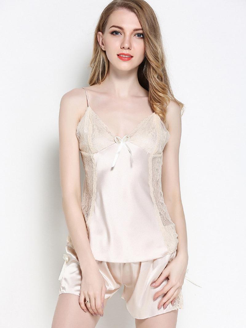 Ericdress Women Lace Bowknot Satin Pajama Camisole Short Sets