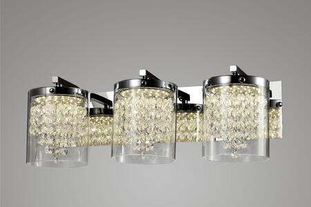 ZP88 3-Light LED Wall Sconce with Steel and Glass Materials and 6 Watts in Chrome