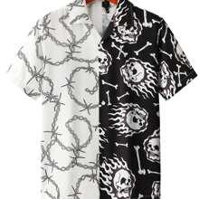 Knopfen vorn Halloween  Strasse Maenner Hemden