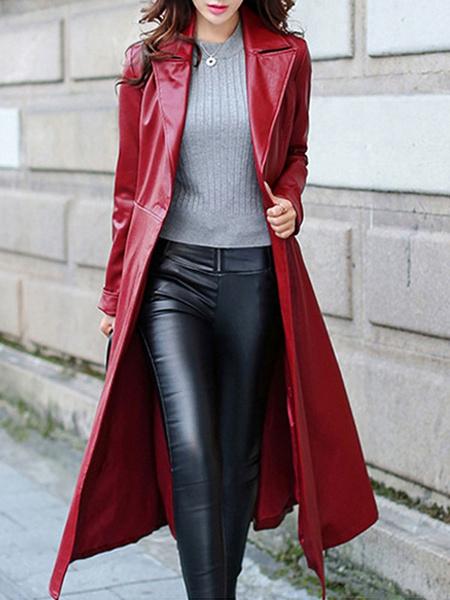 Milanoo Abrigo para mujer Abrigo de cuello Casual Abrigo de invierno rojo