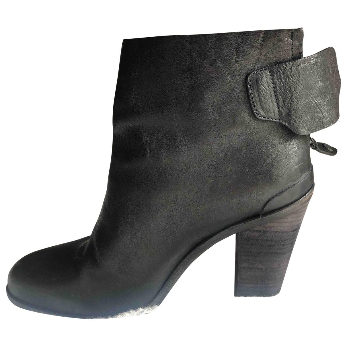 Rag & Bone \N Black Leather Ankle boots for Women 41 EU