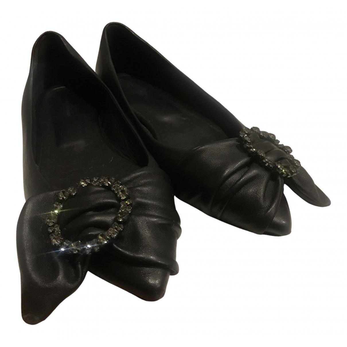 Isabel Marant N Black Leather Flats for Women 38 EU