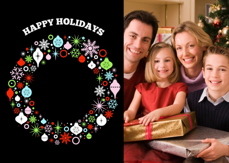 Christmas Photo Cards Mail-for-Me Premium 5x7 Folded Card , Card & Stationery -Bountiful Wreath