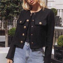 Flap Detail Gold Button Placket Tweed Jacket