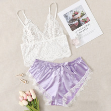 Scallop Lace Bralette & Satin Shorts