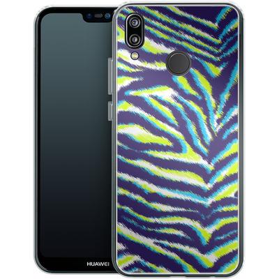 Huawei P20 Lite Silikon Handyhuelle - Neon Zebra von caseable Designs
