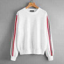 Sweatshirt mit seitlichem Streifen und Rundhalsausschnitt