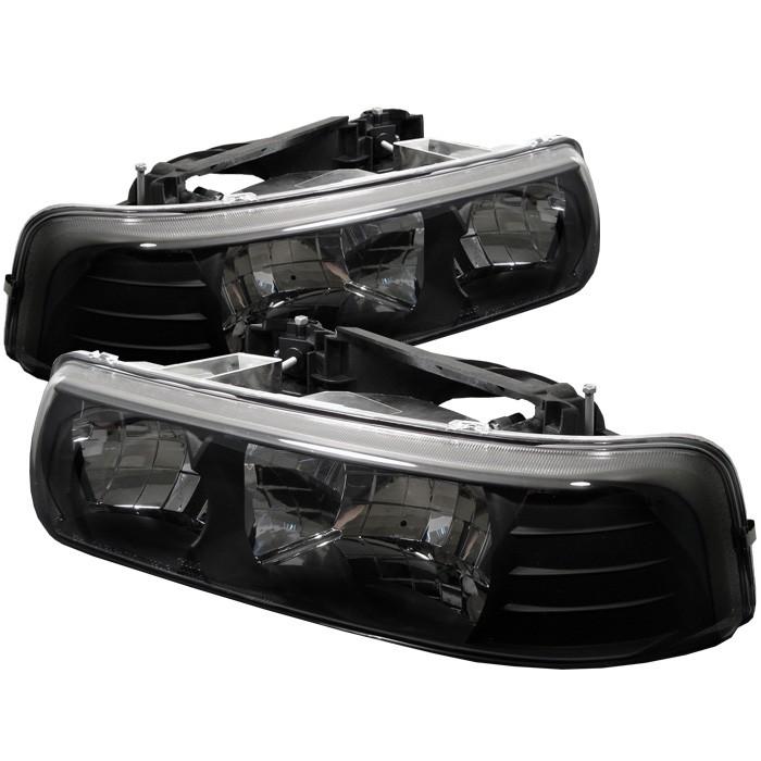 Spyder Crystal Front Bumper Lights Black for Chevrolet Silverado 3500 01-02