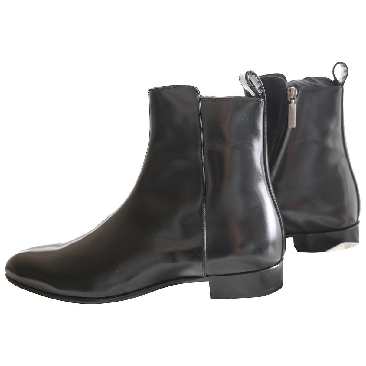 Saint Laurent - Bottes.Boots Finn pour homme en cuir verni - noir