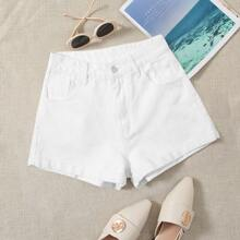 5-pockets Solid Denim Shorts