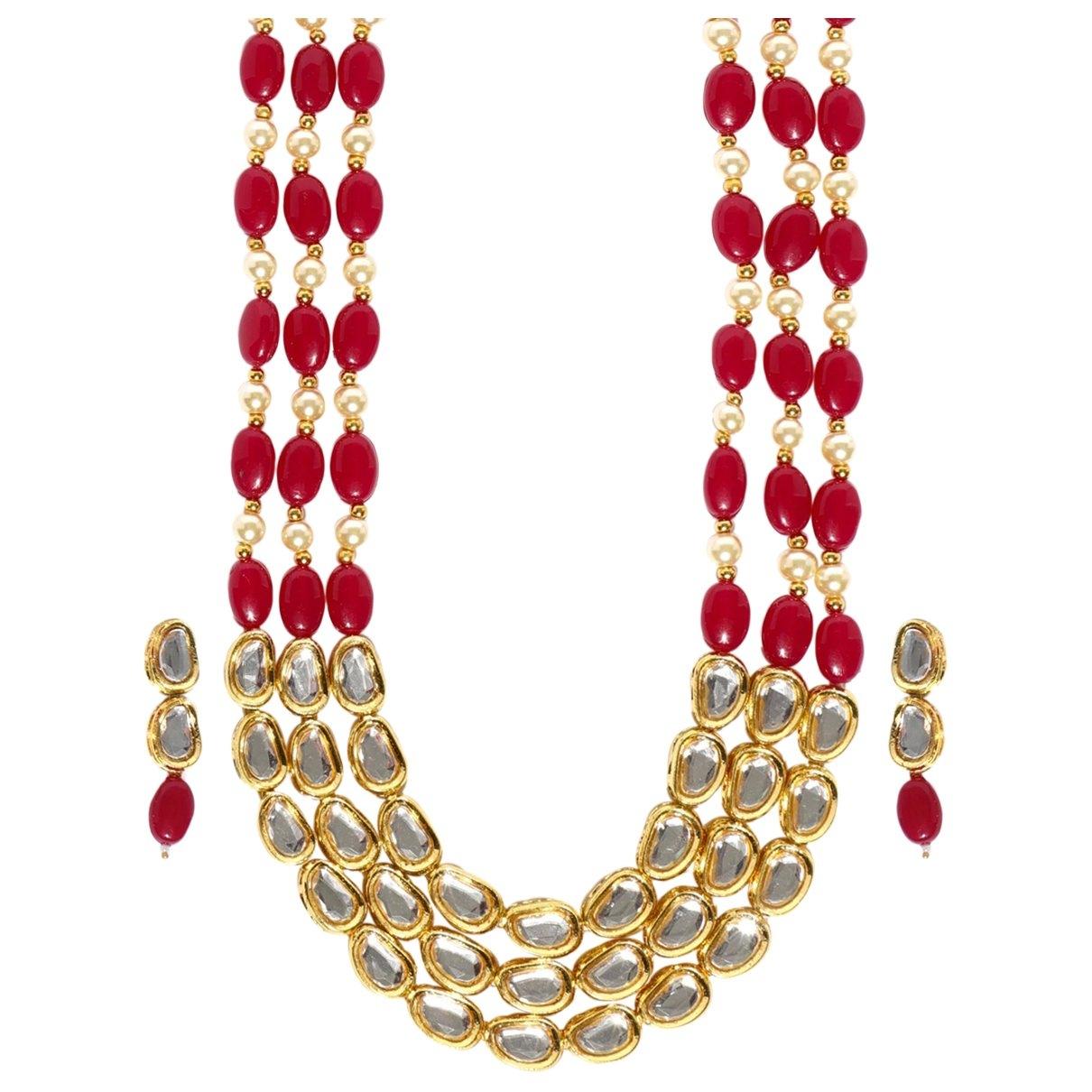 - Collier Motifs Ethniques pour femme en metal - rouge