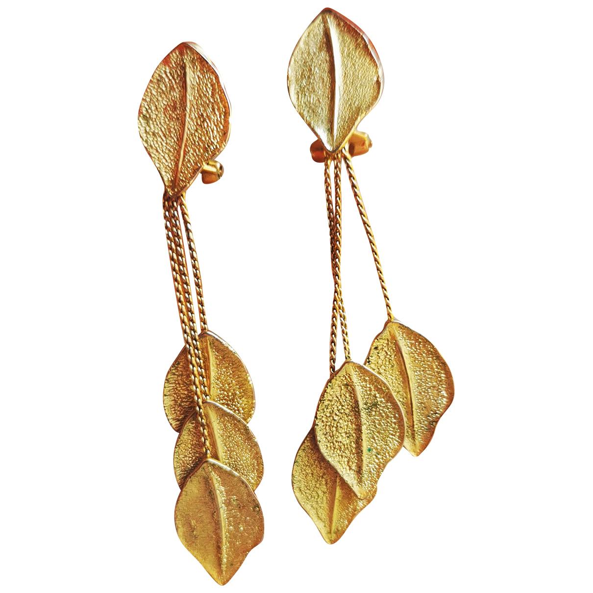 - Boucles doreilles Motifs Floraux pour femme en plaque or - dore