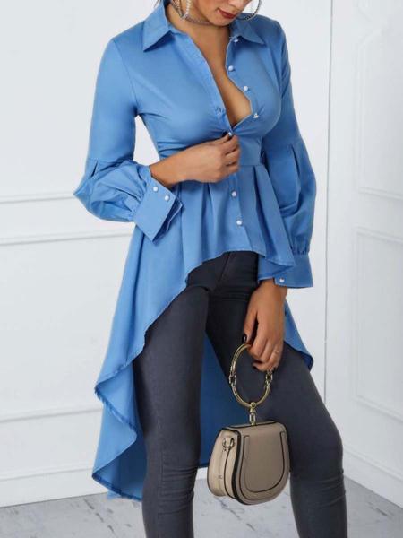 Milanoo Women Casual Shirt Blue Turndown Collar Long Sleeve Irregular Ruffle Blouse